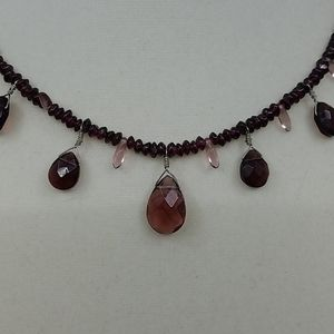 Jewelry - Handmade Garnet and Glass Artisan Necklace
